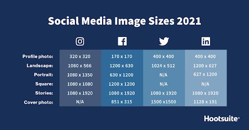 Social Media Post Designs - Sizes settings